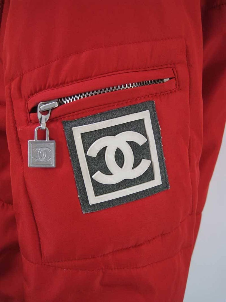 Chanel Red Puffer Ski Jacket Parka For Sale 5