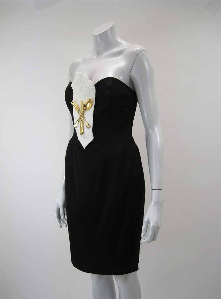 Iconic 1989 Moschino Couture Black Strapless Dinner Dress 2