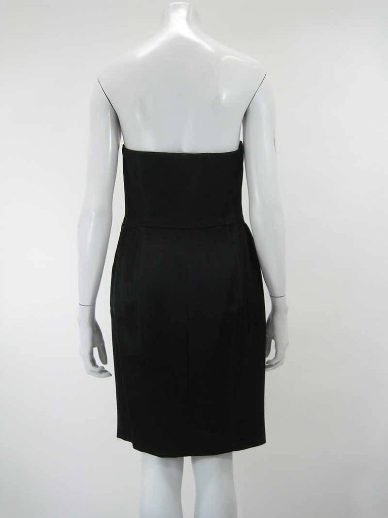 Iconic 1989 Moschino Couture Black Strapless Dinner Dress 3