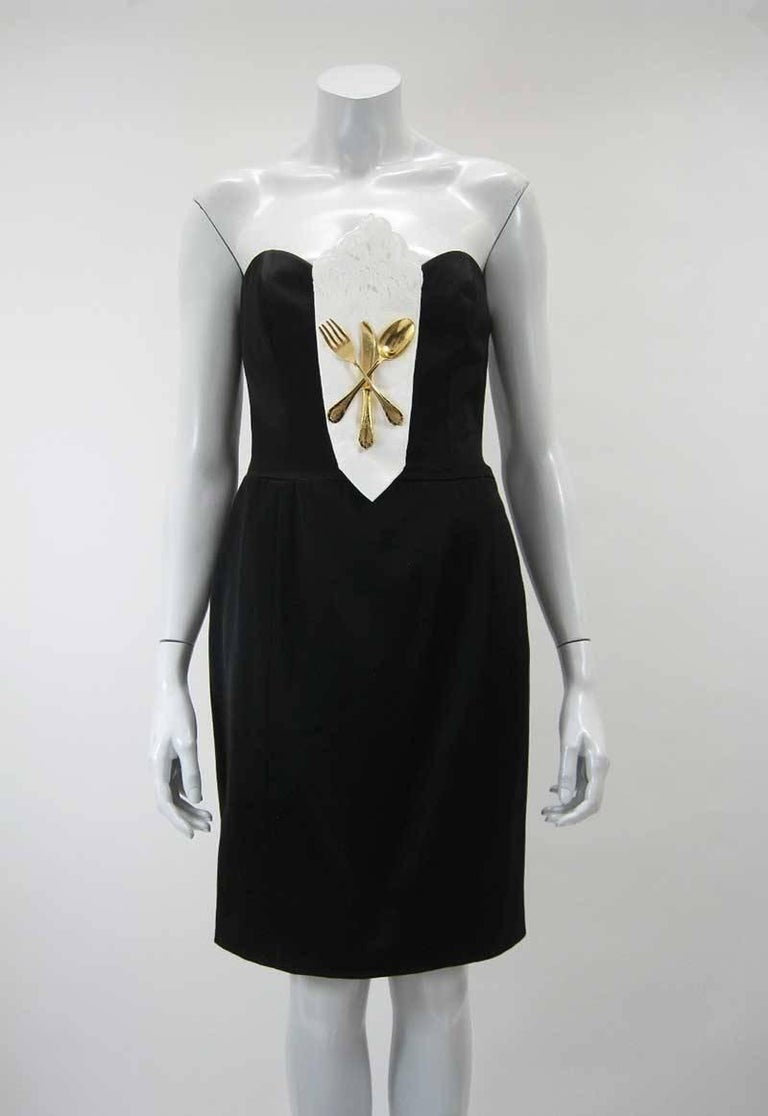 Iconic 1989 Moschino Couture Black Strapless Dinner Dress 5