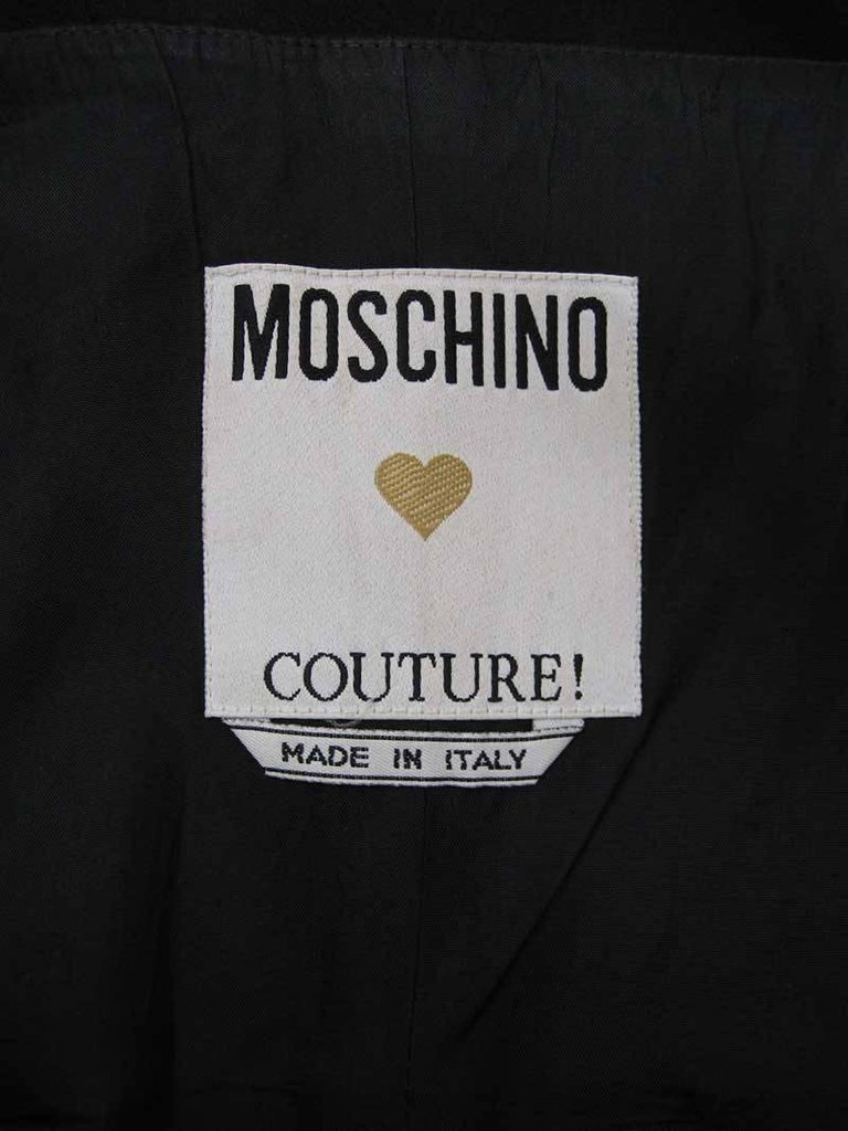 Iconic 1989 Moschino Couture Black Strapless Dinner Dress 6