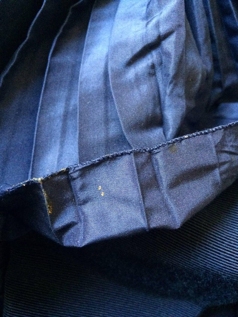 Christian Dior Blue Satin Evening Jacket with Large Pleated Collar For Sale 2