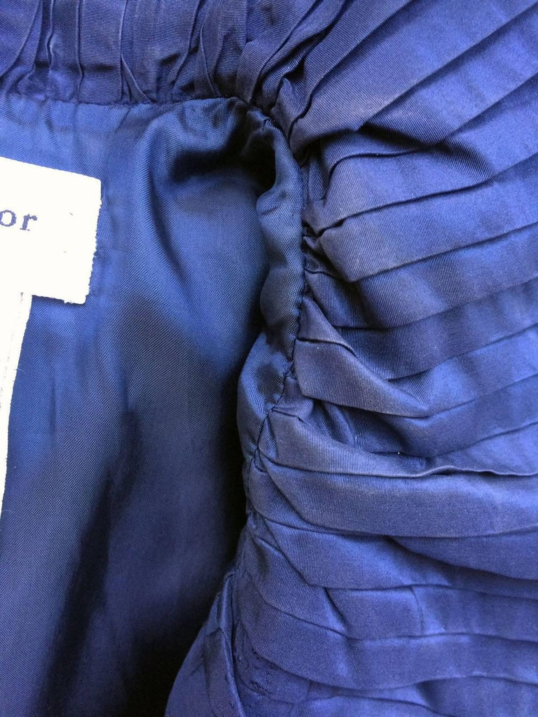 Christian Dior Blue Satin Evening Jacket with Large Pleated Collar For Sale 5