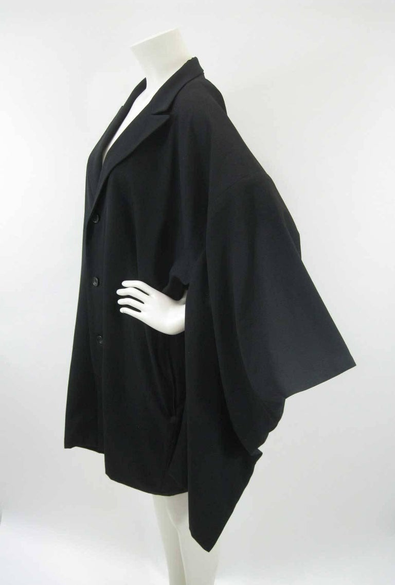 Yohji Yamamoto Vintage Black Wool Kimono Coat In Excellent Condition For Sale In San Francisco, CA