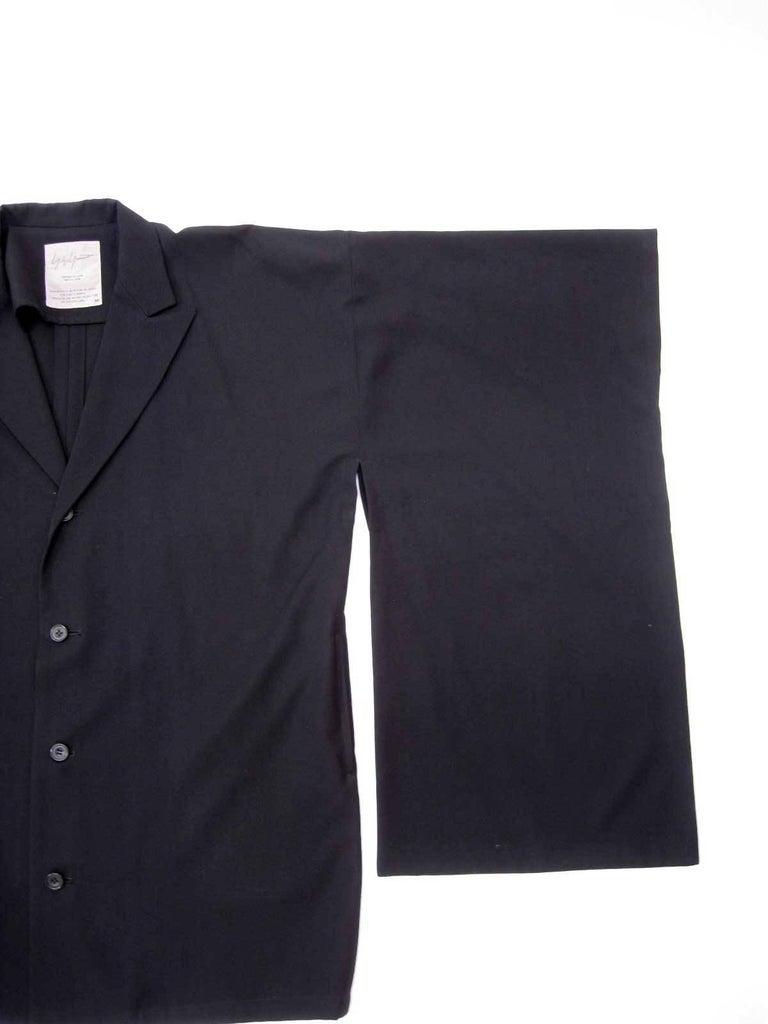 Yohji Yamamoto Vintage Black Wool Kimono Coat For Sale 1
