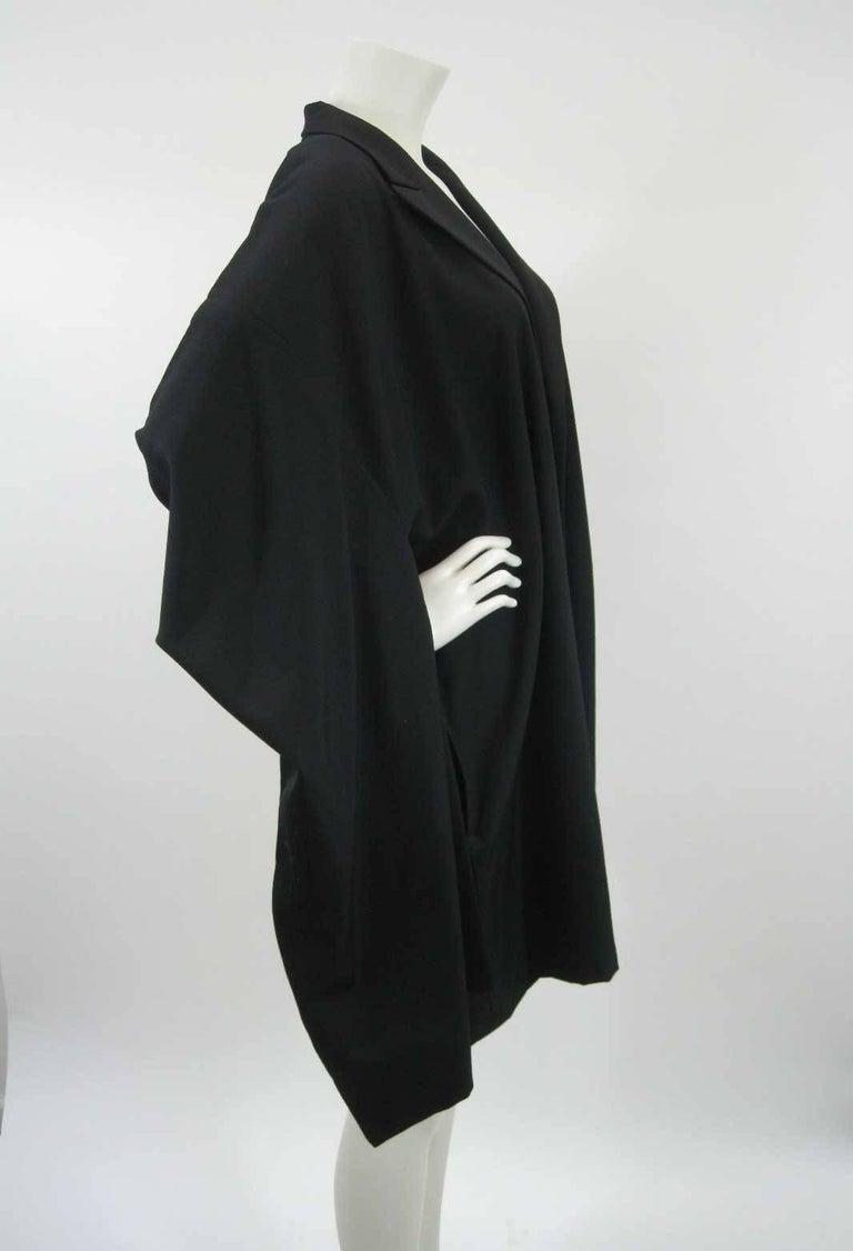 Women's or Men's Yohji Yamamoto Vintage Black Wool Kimono Coat For Sale