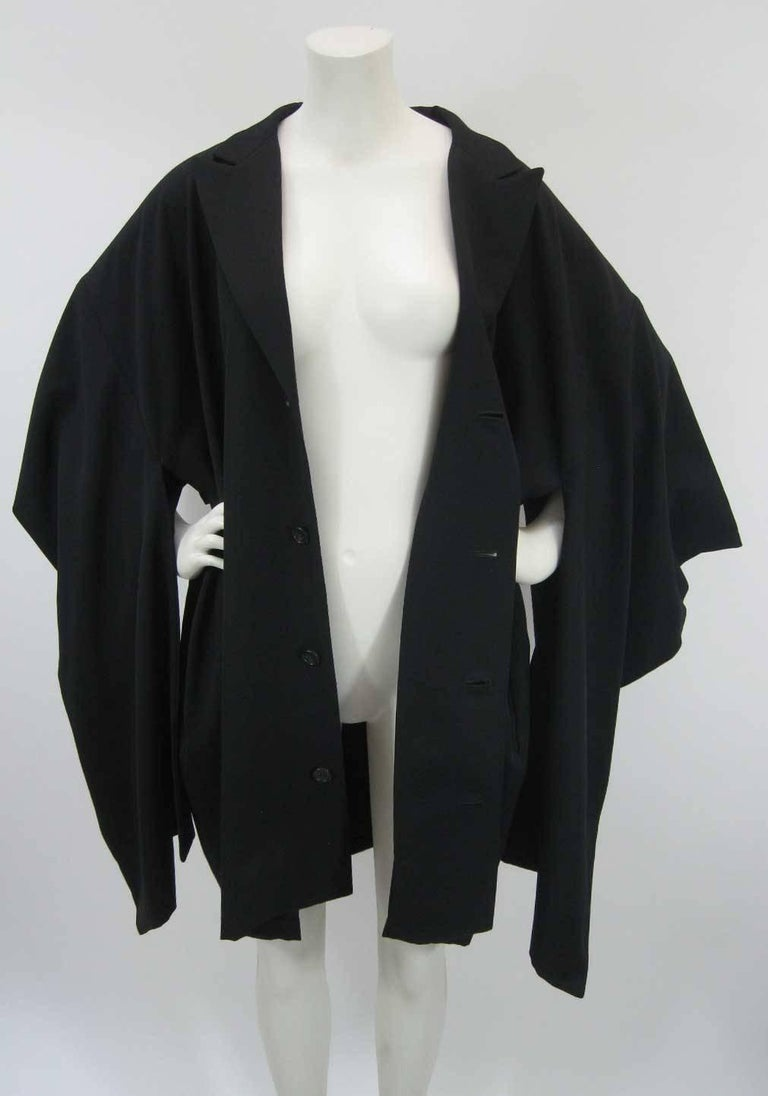 Yohji Yamamoto Vintage Black Wool Kimono Coat For Sale 2