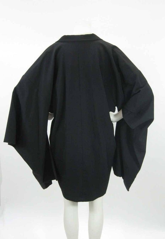 Yohji Yamamoto Vintage Black Wool Kimono Coat For Sale 3