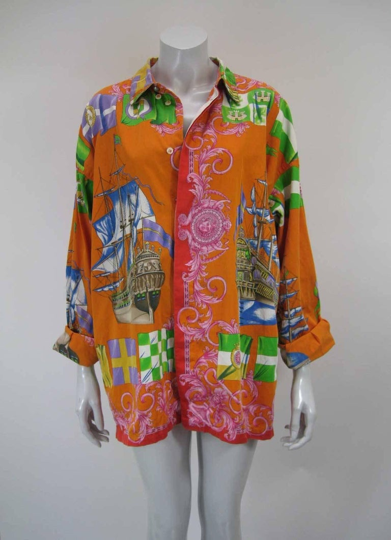 Gianni Versace Printed Sailboat Suns Motif Shirt For Sale 2