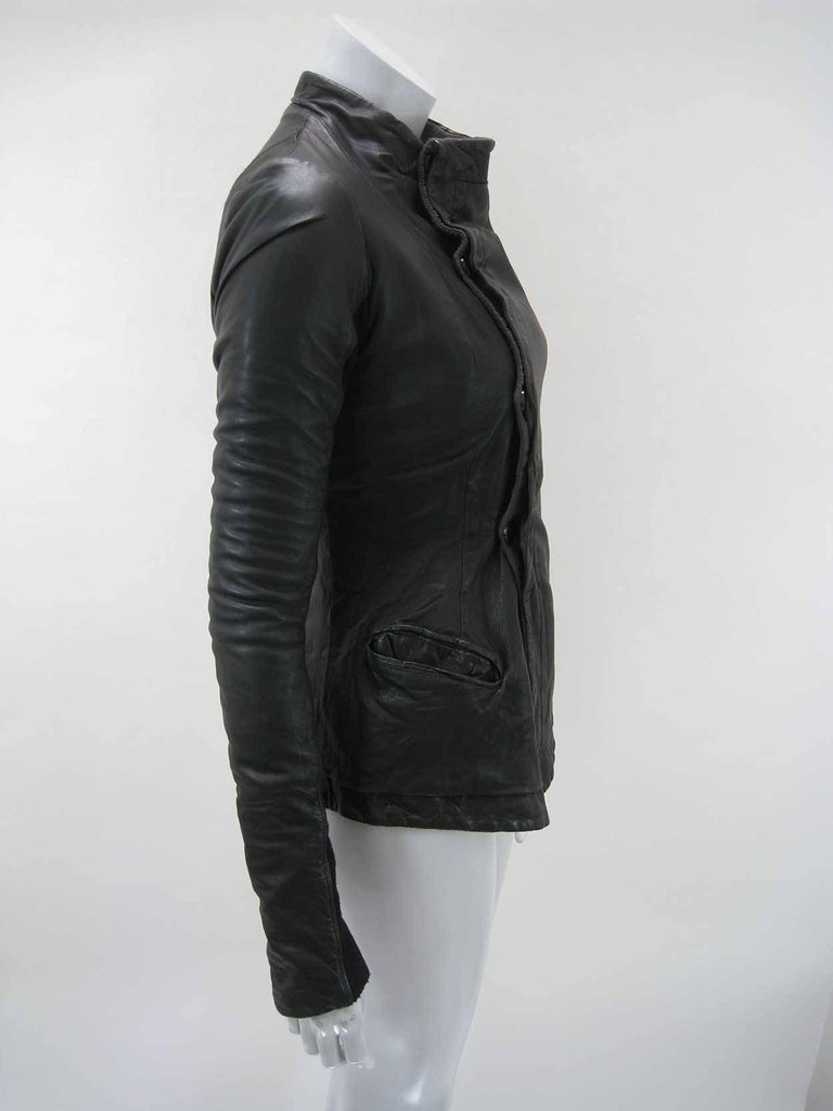 Women's Rick Owens Black Leather Asymmetrical Biker Jacket For Sale