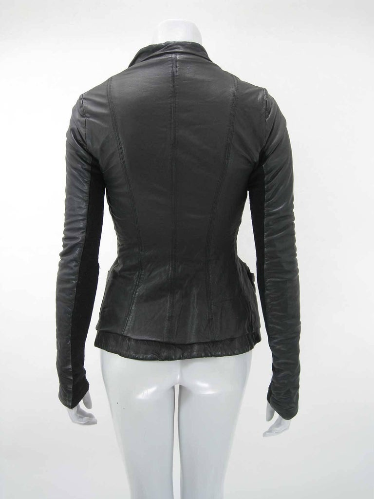 Rick Owens Black Leather Asymmetrical Biker Jacket For Sale 1