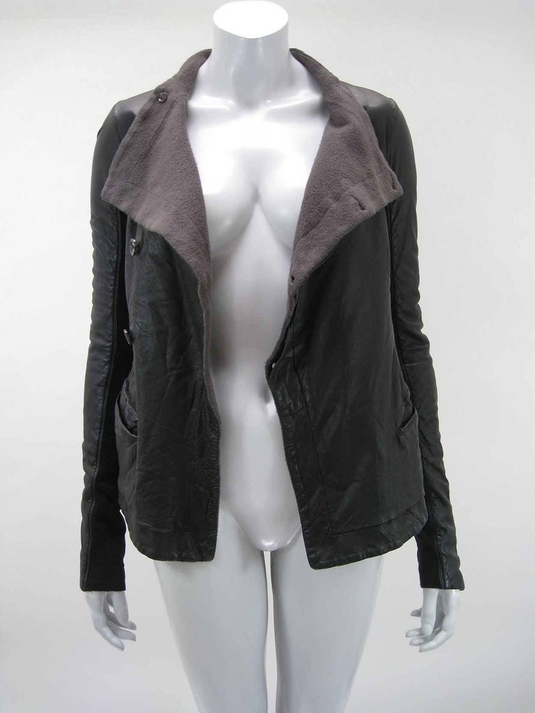 Rick Owens Black Leather Asymmetrical Biker Jacket In Good Condition For Sale In San Francisco, CA