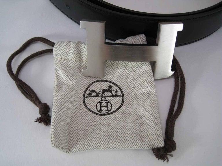 Black Hermes H Belt Buckle & Wide Reversible Leather Strap For Sale