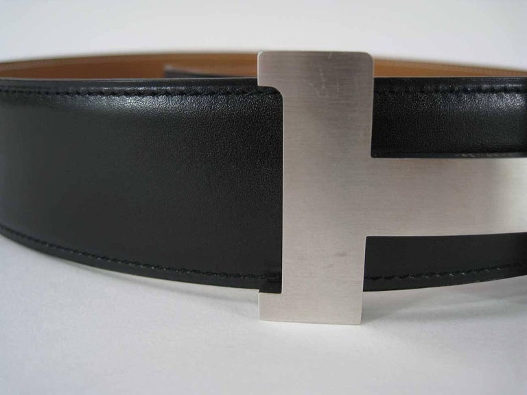Women's or Men's Hermes H Belt Buckle & Wide Reversible Leather Strap For Sale