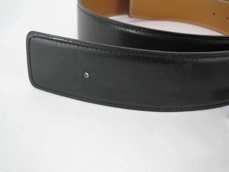 Hermes H Belt Buckle & Wide Reversible Leather Strap For Sale 2