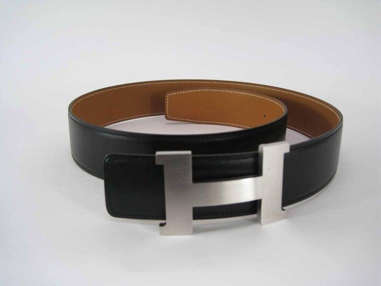 Hermes H Belt Buckle & Wide Reversible Leather Strap For Sale 4