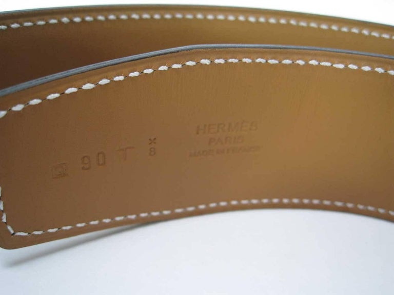 Hermes H Belt Buckle & Wide Reversible Leather Strap For Sale 5