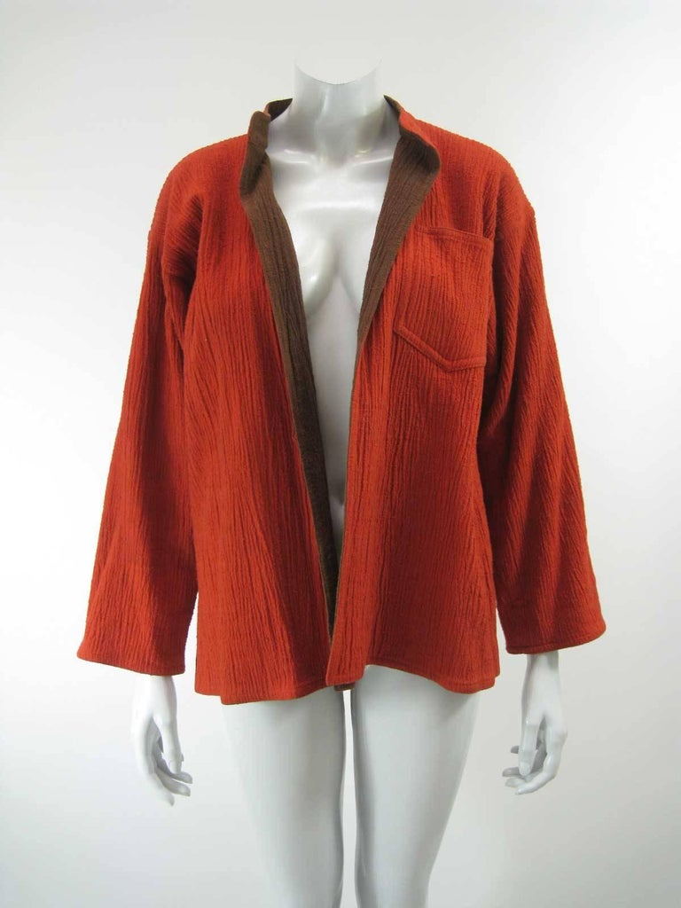 Vintage Issey Miyake Textured Orange and Brown Open Jacket For Sale ...