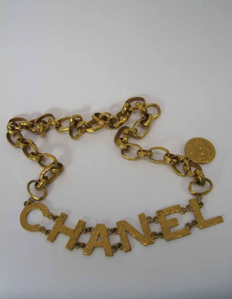 Rare 1993 Chanel Hammered Gold Tone Big Letter Logo Chain Belt  For Sale 2