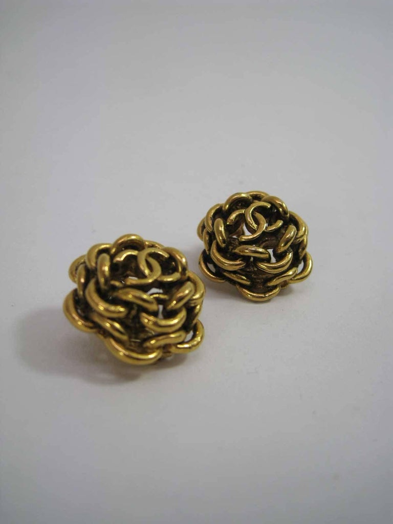 Vintage Chanel Interlocking CC Chain Earrings  For Sale 1