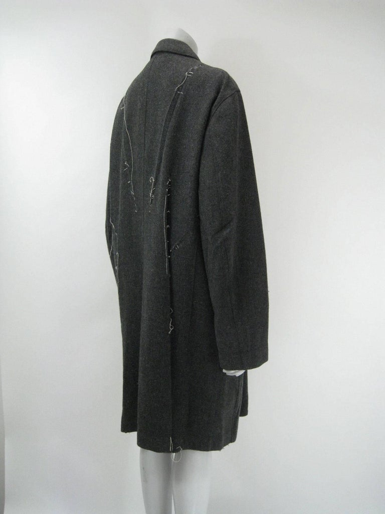 Issey Miyake Grey Wool Coat Trench w White Stitching Pleats In Excellent Condition For Sale In San Francisco, CA