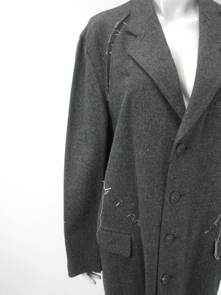 Gray Issey Miyake Grey Wool Coat Trench w White Stitching Pleats For Sale