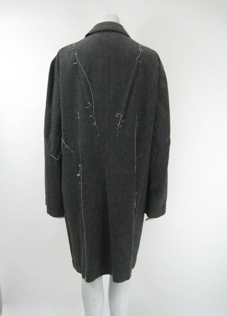 Issey Miyake Grey Wool Coat Trench w White Stitching Pleats For Sale 5