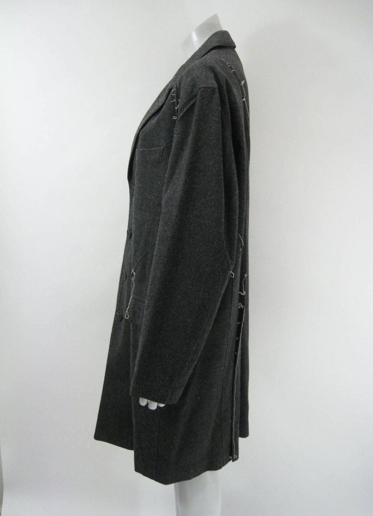 Women's or Men's Issey Miyake Grey Wool Coat Trench w White Stitching Pleats For Sale