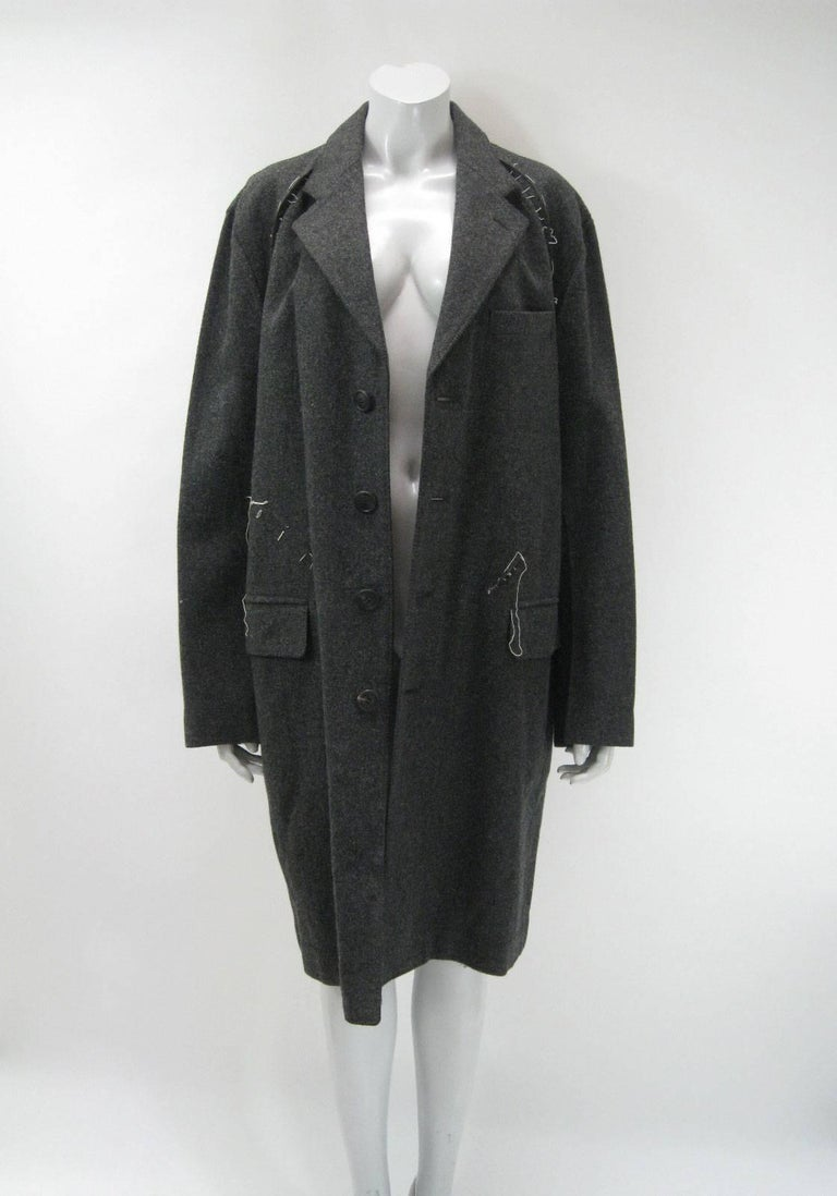 Issey Miyake Grey Wool Coat Trench w White Stitching Pleats For Sale 1