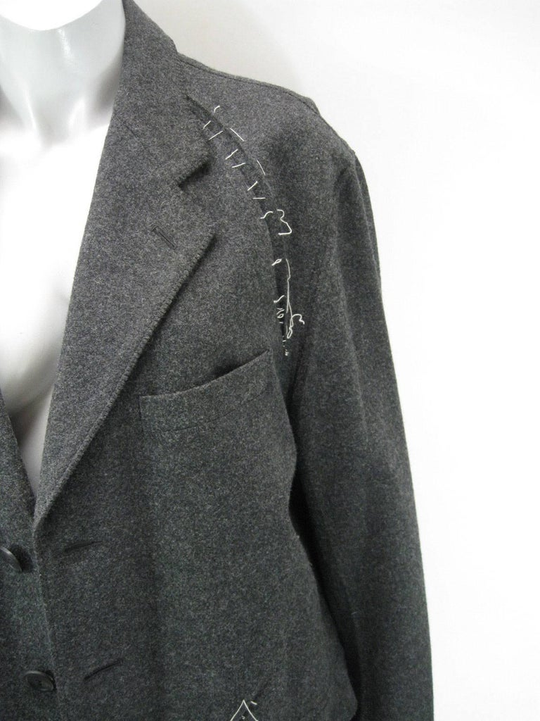 Issey Miyake Grey Wool Coat Trench w White Stitching Pleats For Sale 3