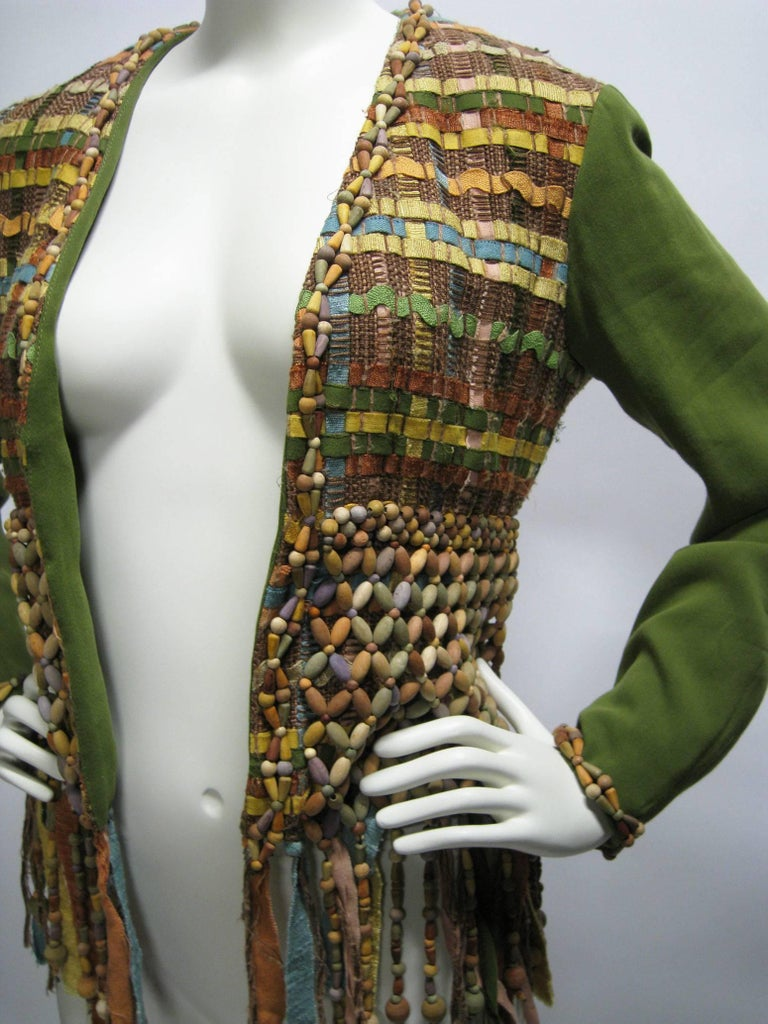 Women's Moschino Couture Intricately Woven & Beaded Tassel Jacket For Sale
