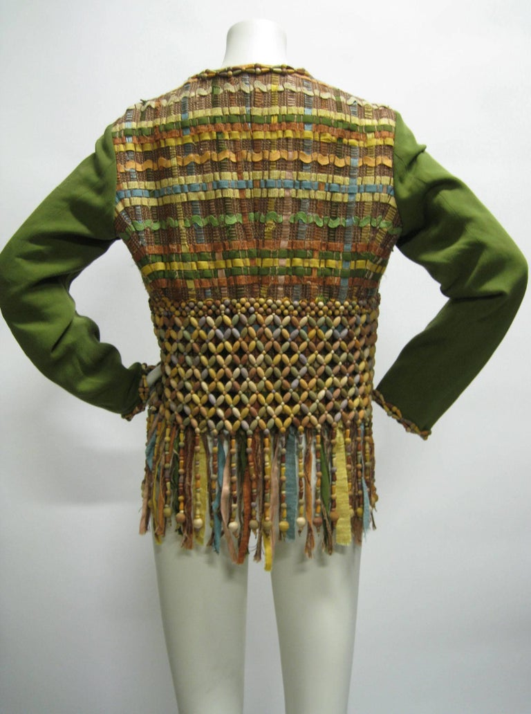Moschino Couture Intricately Woven & Beaded Tassel Jacket For Sale 2