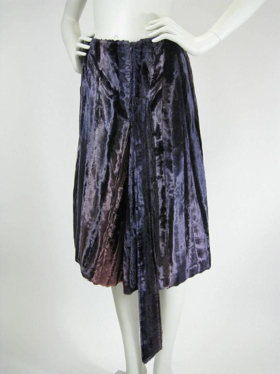 Black Jean Paul Gaultier Purple Faux Fur Velvet Skirt For Sale