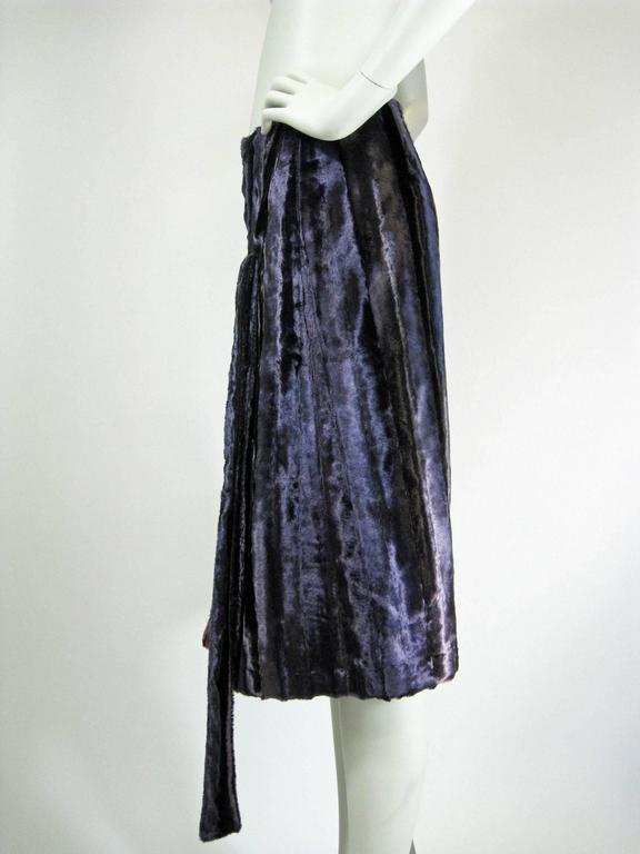 Jean Paul Gaultier Purple Faux Fur Velvet Skirt In Excellent Condition For Sale In San Francisco, CA