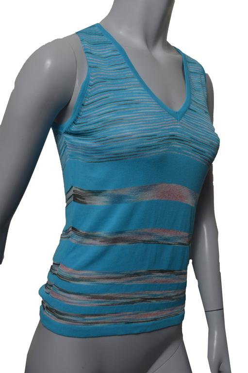Blue M Missoni Turquoise Sleeveless Top For Sale