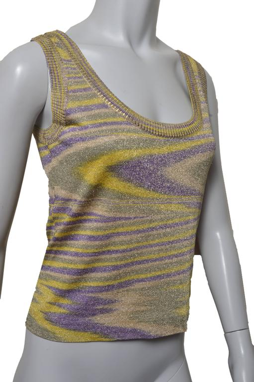 Lovely Missoni woven tank top. Shades of yellow, purple and muted green  with gold metallic thread woven throughout. Scoop neck and back.  No size tag found.