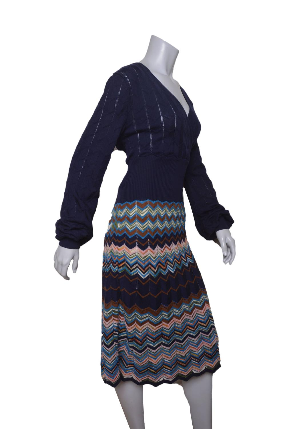 M Missoni Navy Blue Chevron Wrap Dress For Sale at 1stdibs