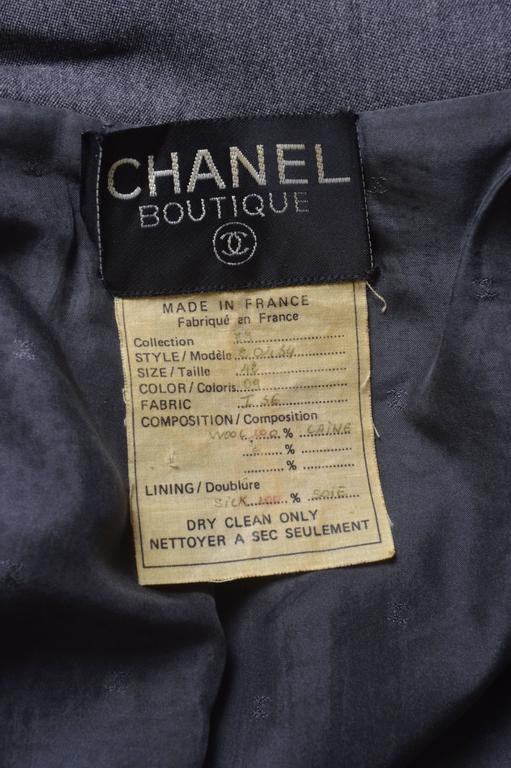 Chanel Boutique Gray Military Style Skirt Suit 6