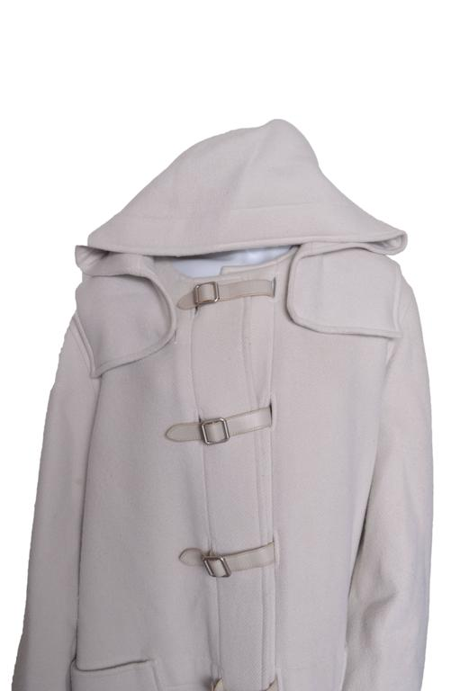 Gray Herrmes Cashmere & Wool Hooded Coat For Sale