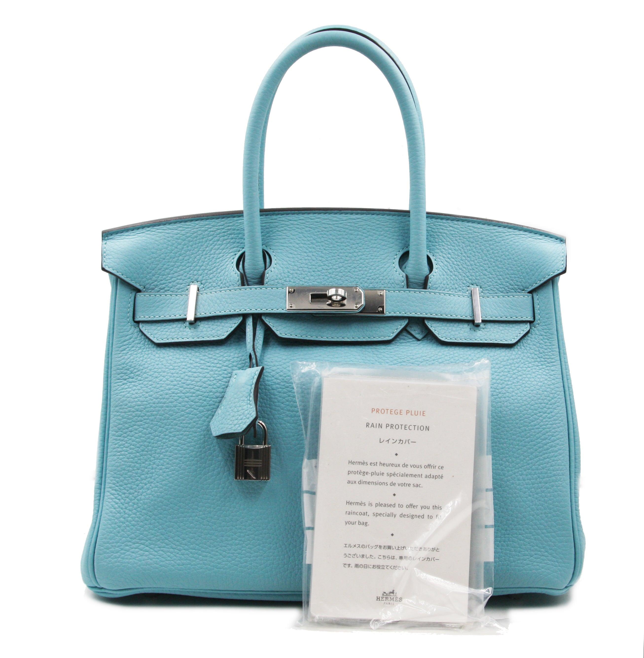 fae29e025174 Hermes Birkin 30 Togo Blue Atoll 3p Palladium (silver) Tote Bag at 1stdibs