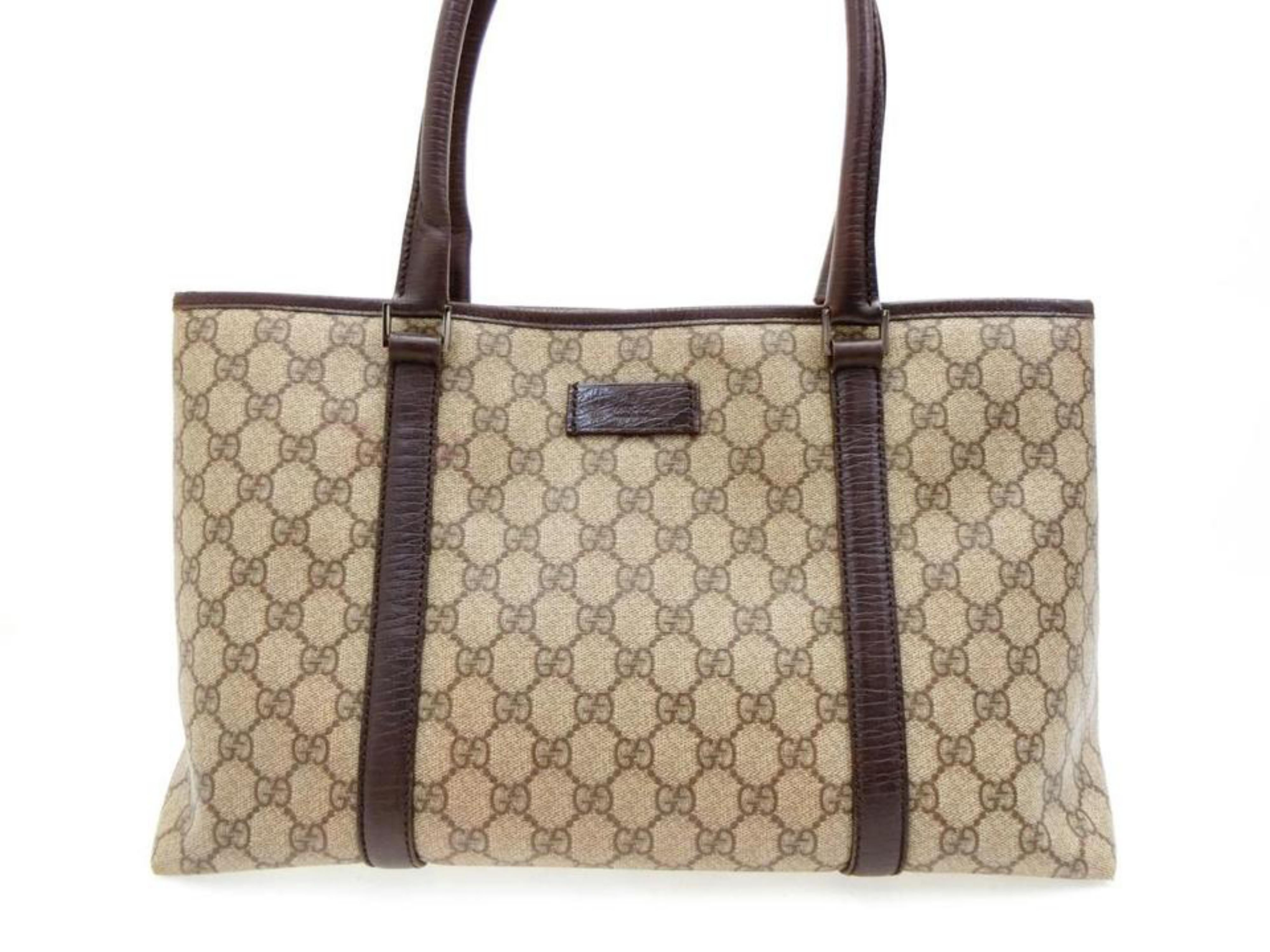9d1b61cf970 Gucci Supreme Gg Monogram Shopper 228812 Brown Coated Canvas Tote at 1stdibs