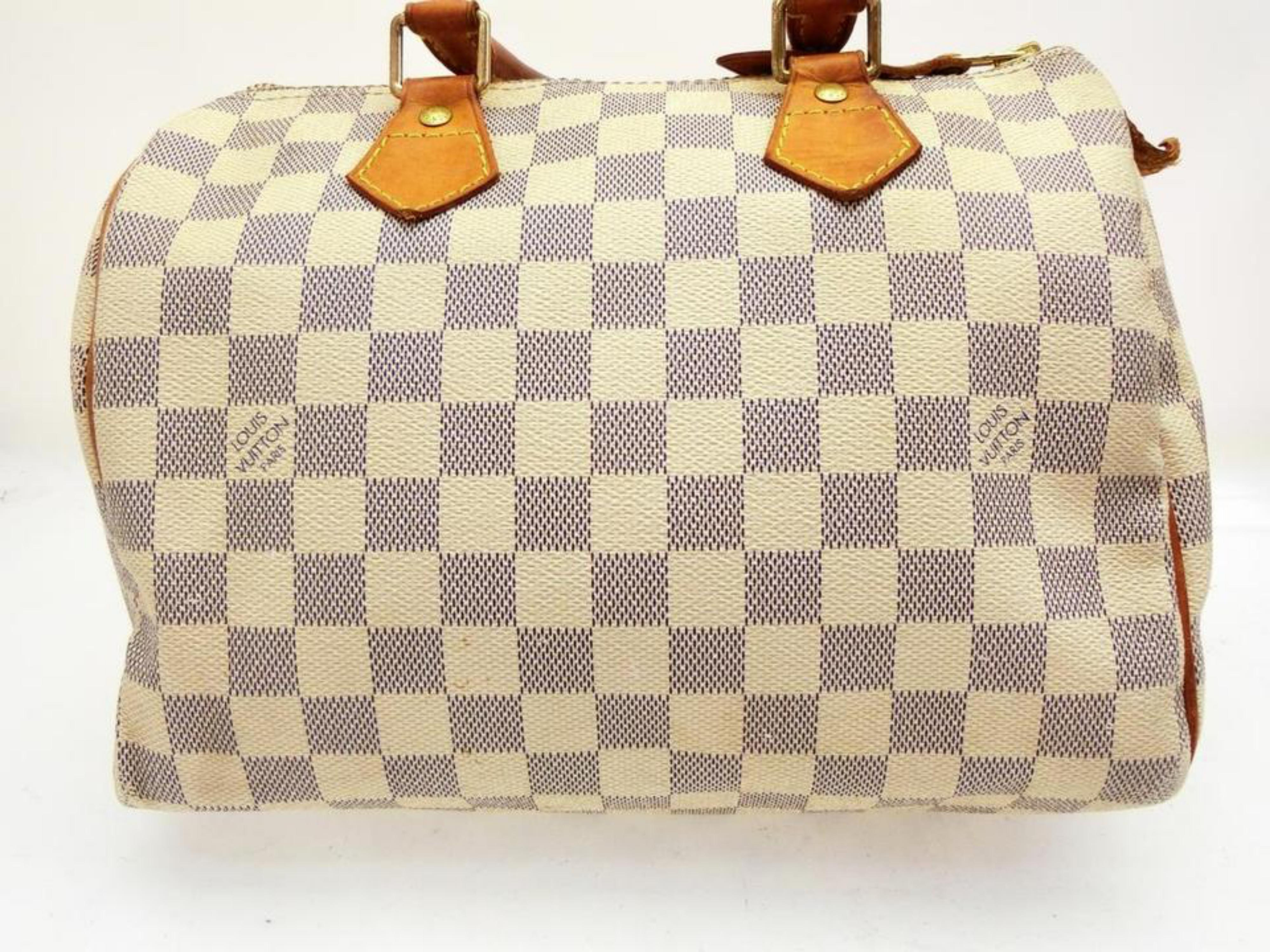 97ab0127849a Louis Vuitton Speedy Damier Azur 30 228757 White Coated Canvas Satchel For  Sale at 1stdibs