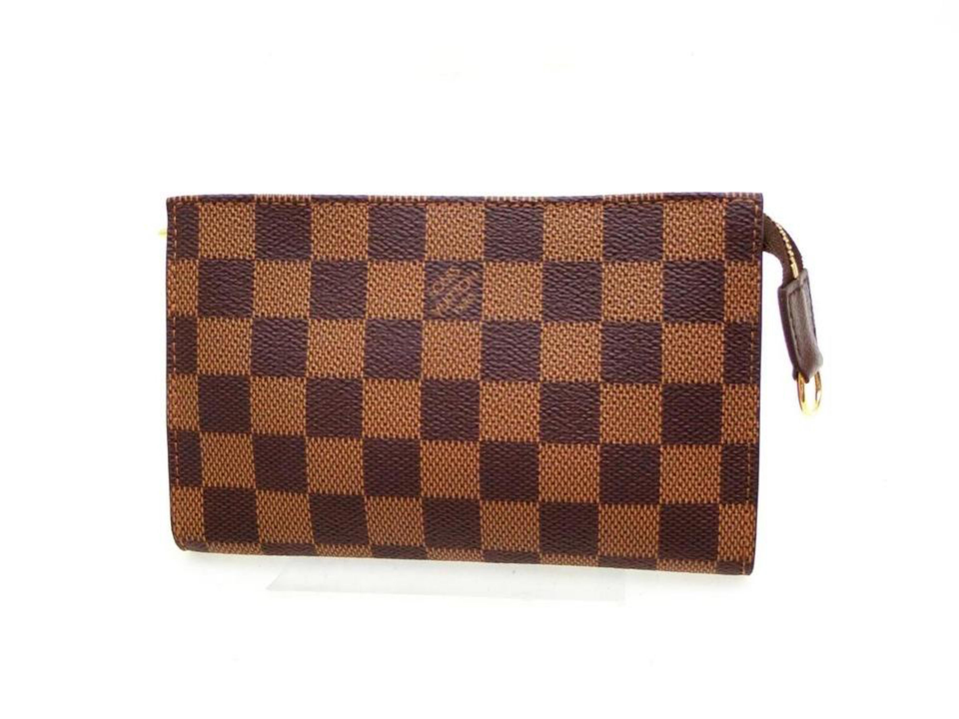 0968a880e569 Louis Vuitton Poche Damier Ebene Zip Pouch 227809 Brown Coated Canvas Clutch  at 1stdibs