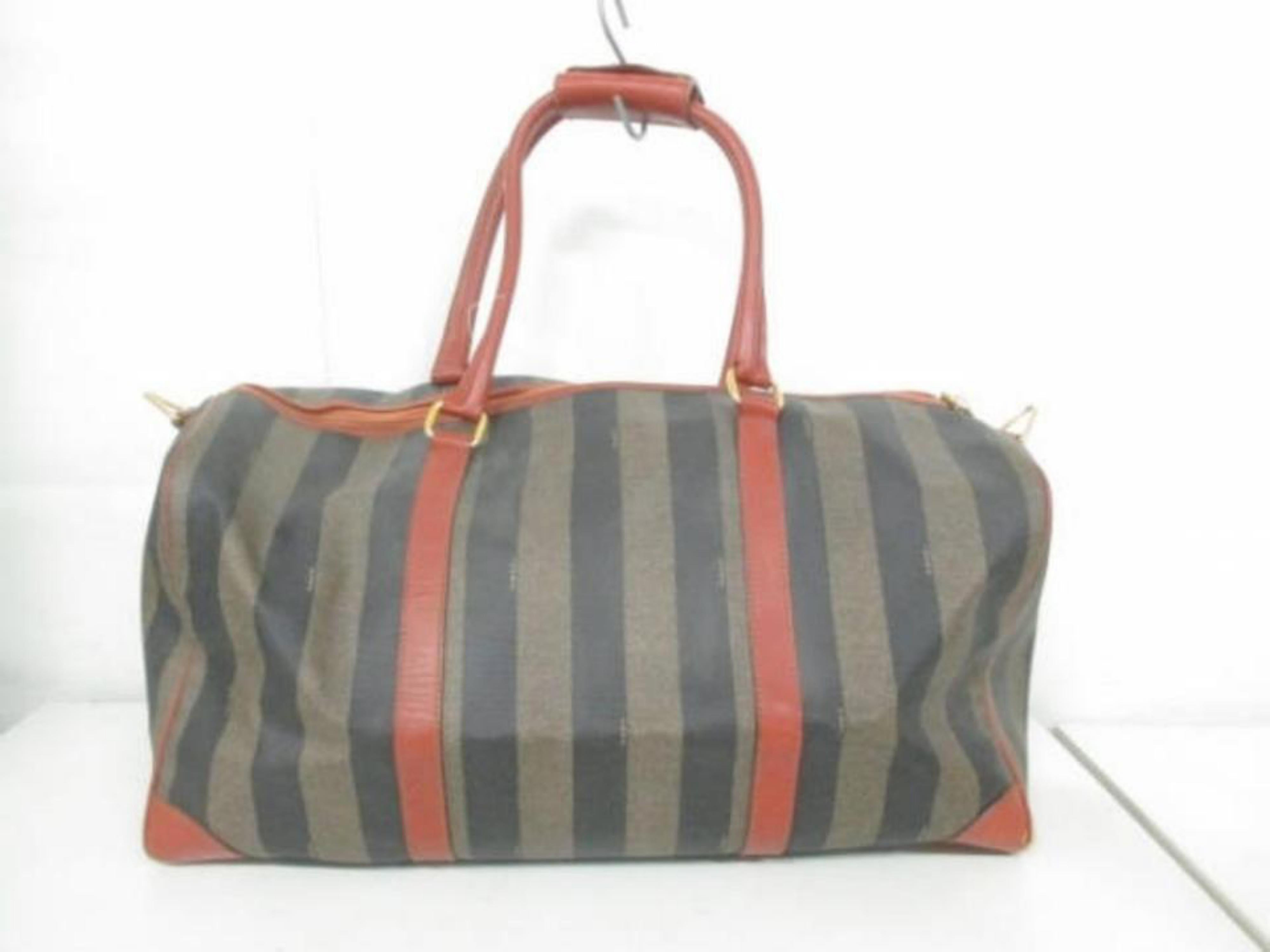 e66c9189daaf Fendi Pequin Stripe Boston Duffle 228051 Tobacco Coated Canvas X Leather  Weekend For Sale at 1stdibs