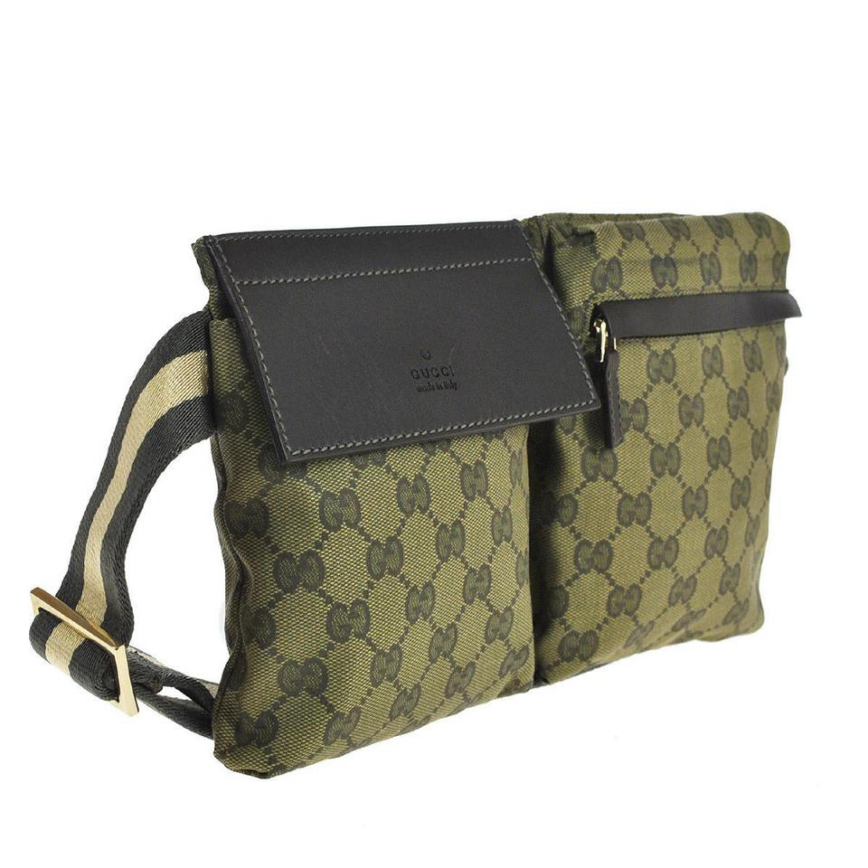 a66b0e48c003 Gucci (Ultra Rare) Monogram Web Khaki Gg Fanny Pack Waist Pouch 868028 Green  Can at 1stdibs