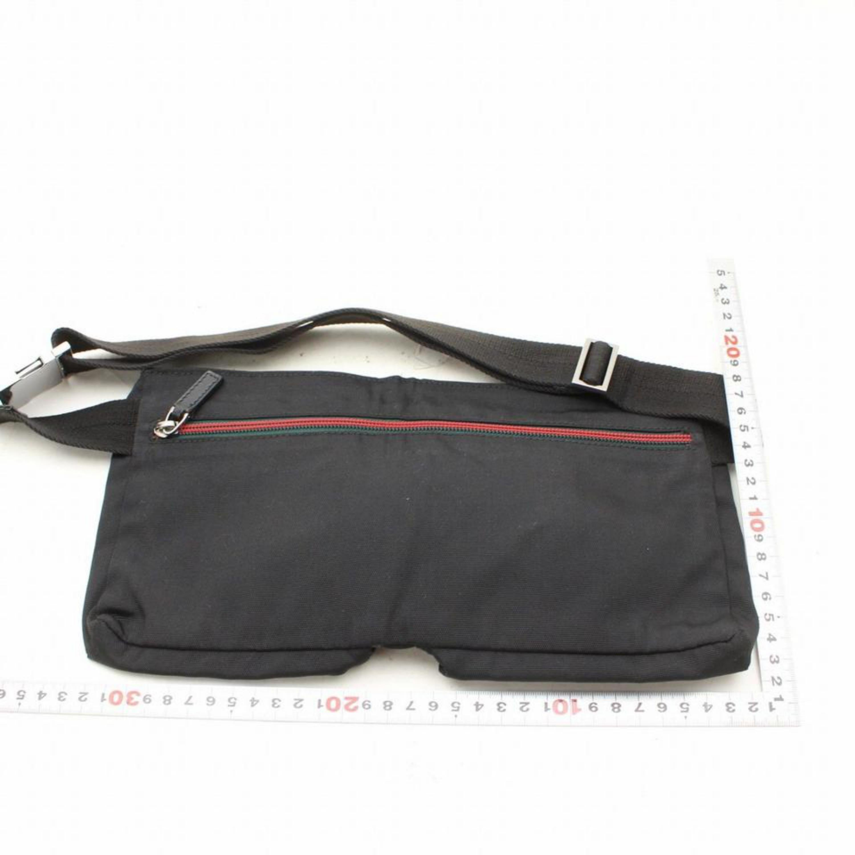 582776851f511f Gucci Sherry Web Fanny Pack Waist Pouch 868544 Black Nylon Cross Body Bag  For Sale at 1stdibs