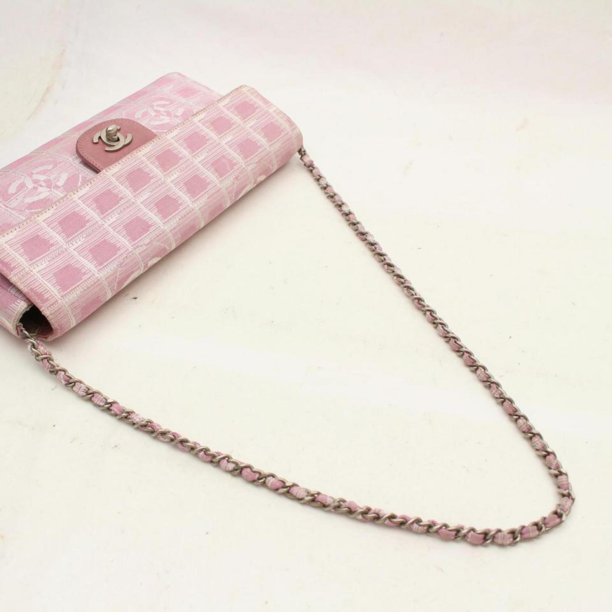 493f05a13b10 Chanel East West Chocolate Bar Chain Flap 869394 Pink Canvas Shoulder Bag  For Sale at 1stdibs