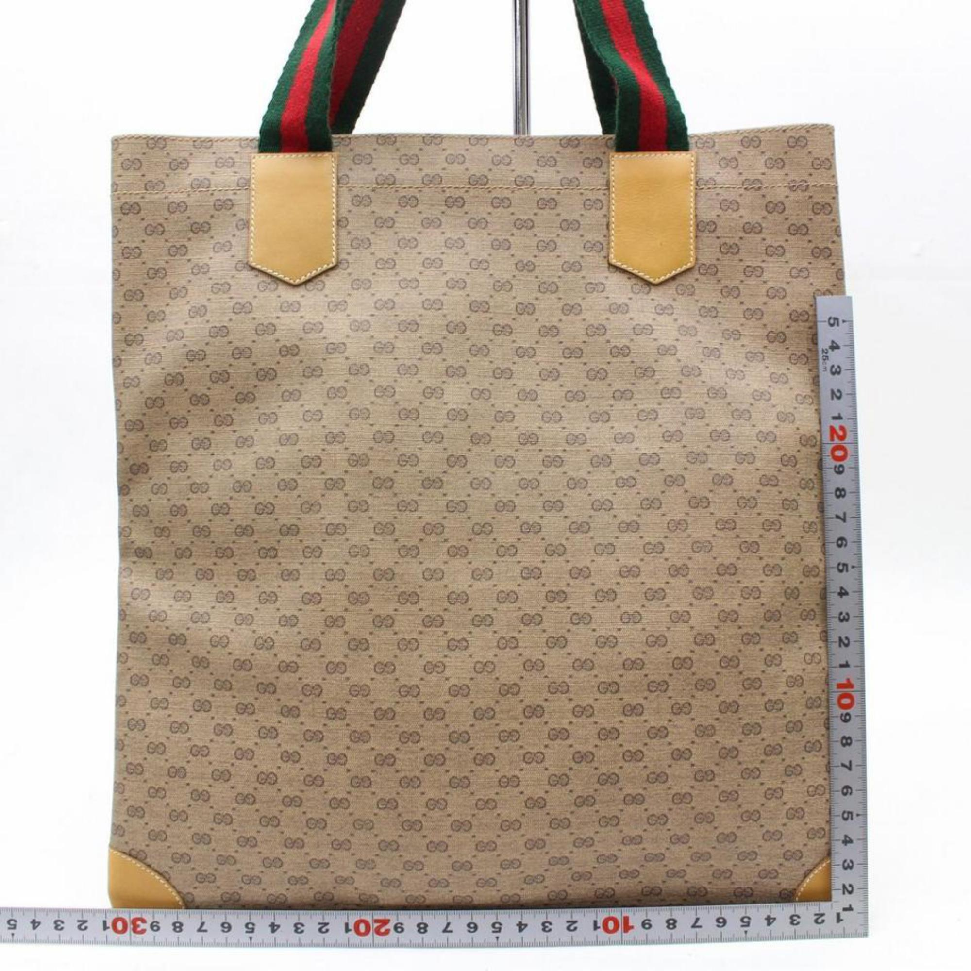 200356028234 Gucci Web Micro Monogram Logo Tote 867526 Beige Coated Canvas Shoulder Bag  For Sale at 1stdibs