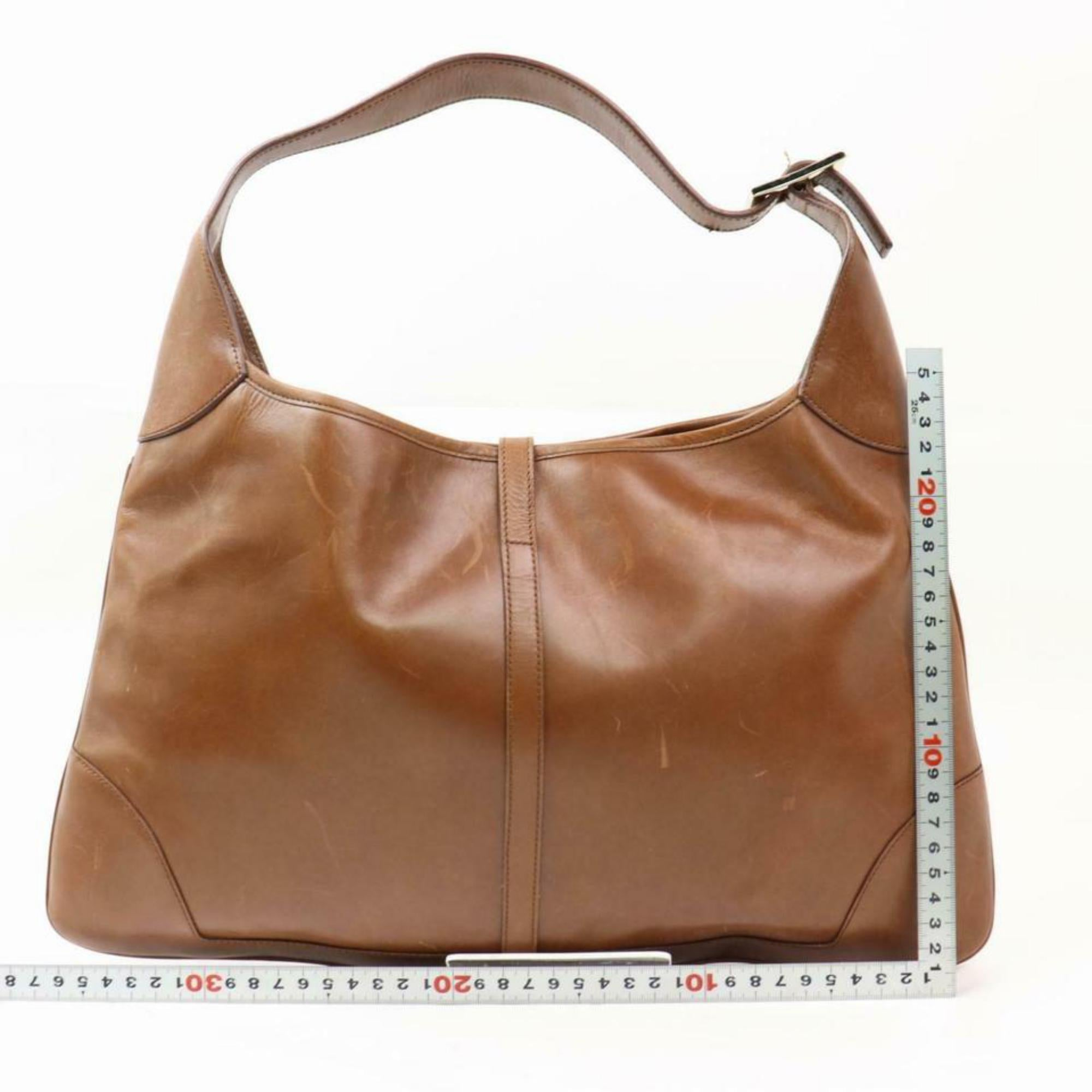 8702c8a68e05 Gucci Jackie Bardot Sherry Web Hobo 870277 Brown Leather Shoulder Bag For  Sale at 1stdibs