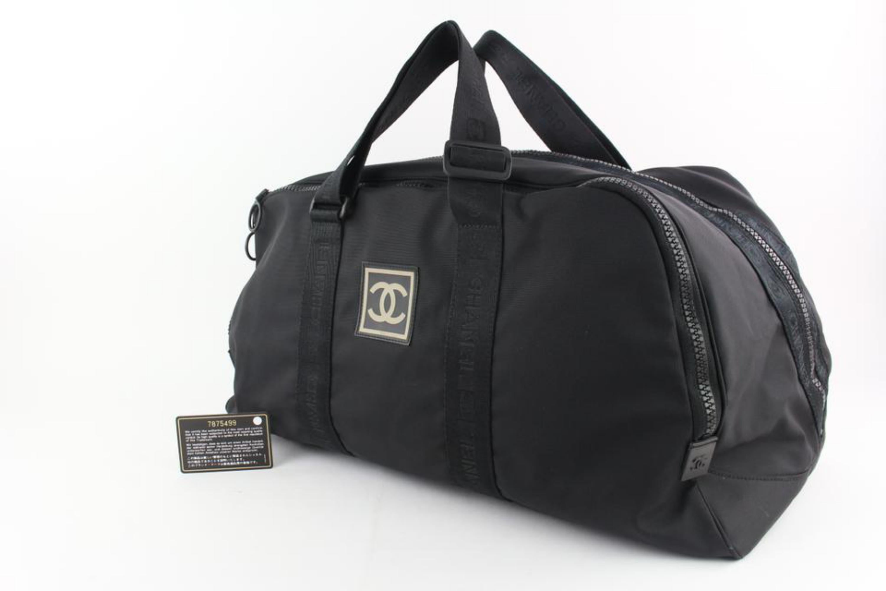 d4eee9d0238d Chanel Duffle Cc Logo Sports Boston 19cz1106 Black Canvas Weekend/Travel Bag  For Sale at 1stdibs